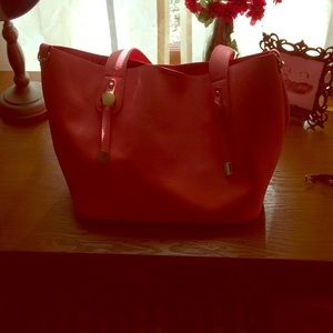 Coral purse and cosmetic bag